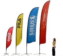 promotional banners and flags