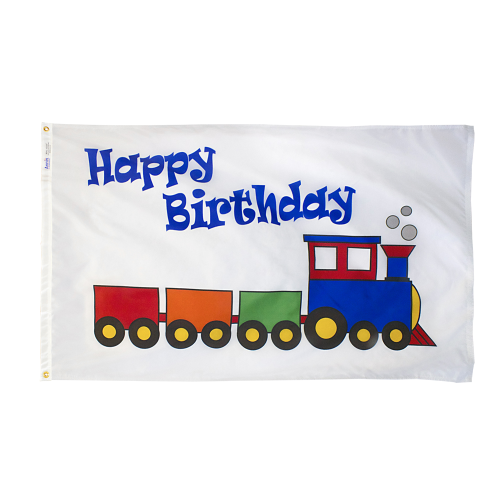 Happy Birthday Train Flag