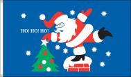 Roof Top Santa Ho! Ho! Ho! Dyed Nylon Flag, 3 X 5