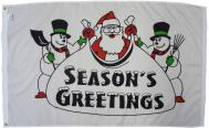 Seasons Greetings Santa Dyed Nylon Flag, 3 X 5
