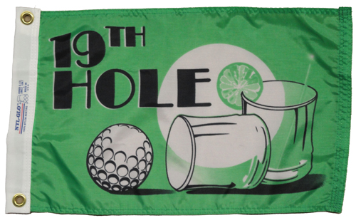 19th Hole Golf Nylon Flag, 12 X 18