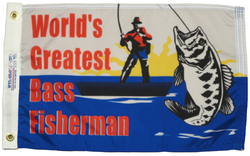 Worlds Greatest Bass Fisherman Nylon Flag, 12 X 18