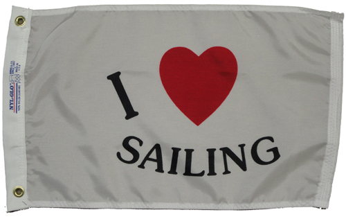I Love Heart Sailing Nylon Flag, 12 X 18