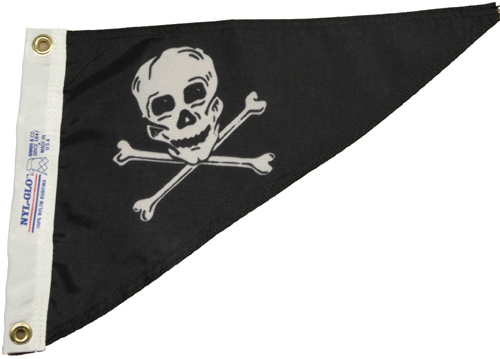 Jolly Roger Pirate Nylon Pennant, 10 X 15