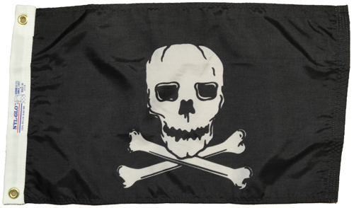 Jolly Roger Pirate Nylon Flag, 12 X 18