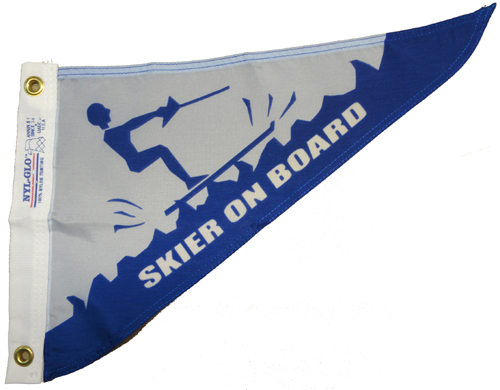 Skier On Board Nylon Pennant, 10 X 15