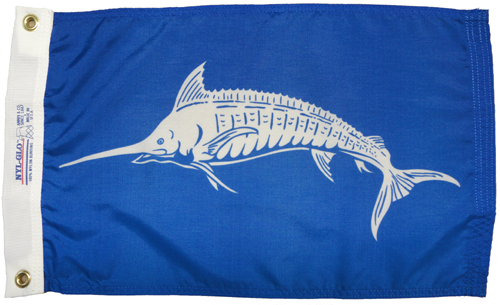 White Marlin Nylon Flag, 12 X 18