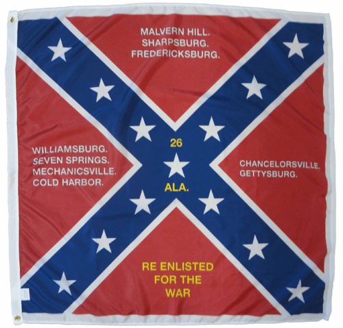 26th Alabama Infantry Regiment Civil War Flags
