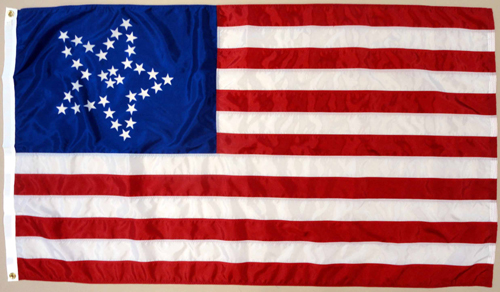 34 Star Great Flower U.S. Civilian Dyed Nylon Flag, 3 X 5