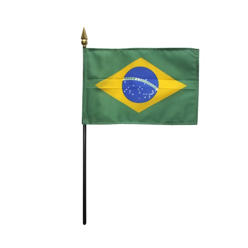 Brazil Miniature Desk Flag, 4 X 6
