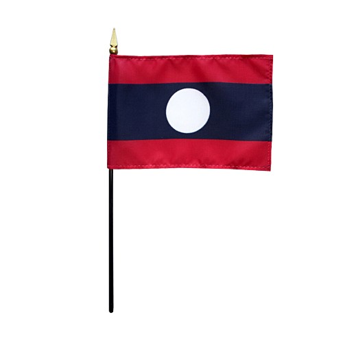 Laos Miniature Desk Flag, 4 X 6