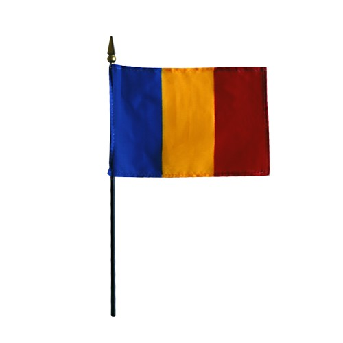 Romania Miniature Desk Flag, 4 X 6