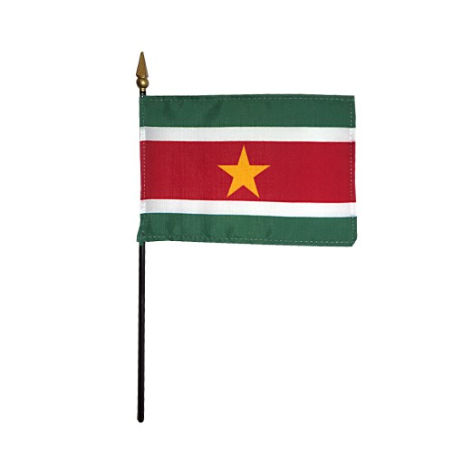 Suriname Miniature Desk Flag, 4 X 6