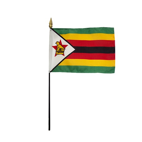 Zimbabwe Miniature Desk Flag, 4 X 6