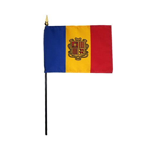 Andorra Miniature Desk Flag, 4 X 6