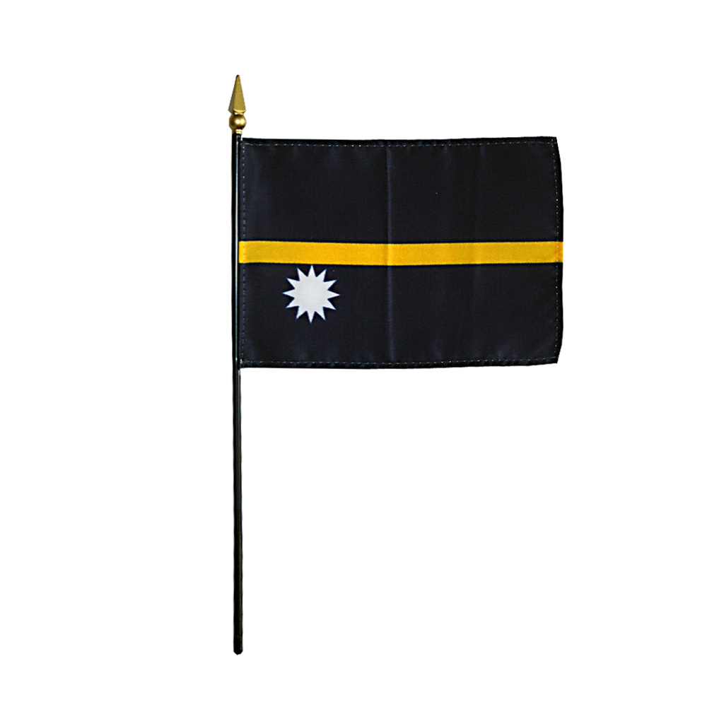 Nauru Miniature Desk Flag, 4 X 6