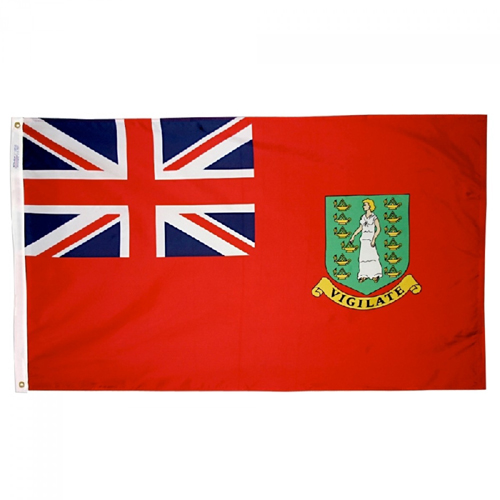 British Virgin Islands Red Nylon Flag, 12 X 18