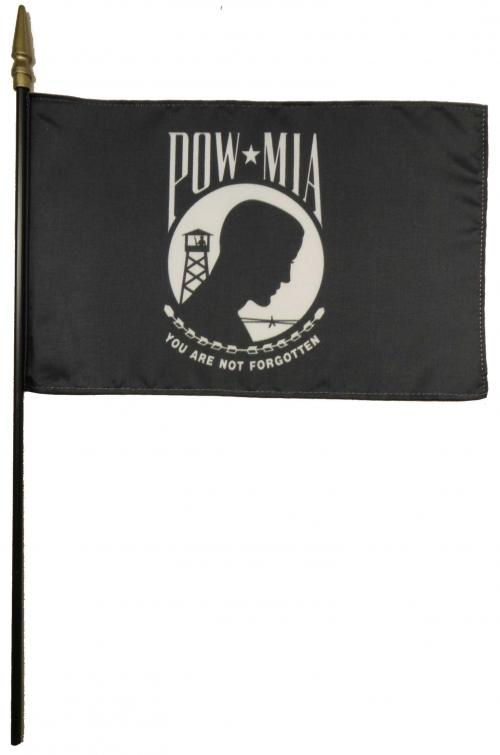 POW-MIA (Single Seal) Larger Desk Flag, 8 X 12