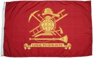 Fire Fighter Fireman Loyal Duty Nylon Flag, 3 X 5