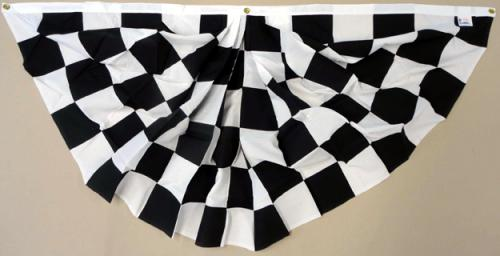 Checkered Racing Pleated Full Fan Poly Cotton, 3 X 6