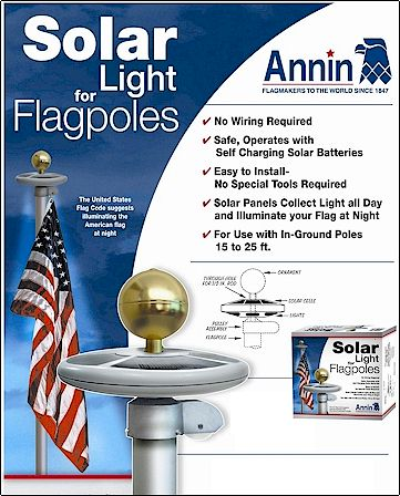 SOLAR LIGHT FOR IN GROUND FLAGPOLES 15 TO 25 ABOVE GROUND