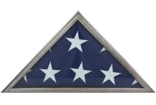 Metallic Gray Memorial Display Flag Case
