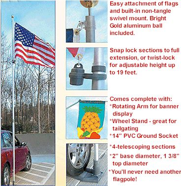 MULTI-USE TELESCOPING BRUSHED ALUMINUM FLAGPOLE, 19