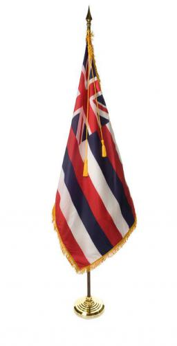 State of Hawaii Indoor Parade Presentation Flag Set Display