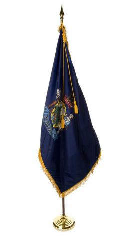 State of Maine Indoor Parade Presentation Flag Set Display