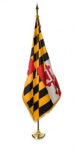 State of Maryland Indoor Parade Presentation Flag Set Display