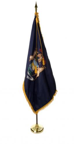 State of Michigan Indoor Parade Presentation Flag Set Display