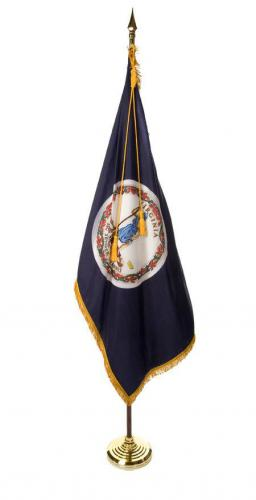 State of Virginia Indoor Parade Presentation Flag Set Display